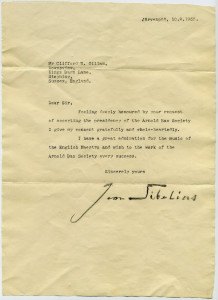 Letter to Clifford Gillam from Sibelius, 1955 web